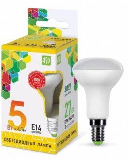 Лампа светодиодная зеркальная LED-R50-standard 5.0Вт 220В Е14 3000K 450Лм ASD
