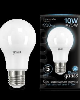 Лампа светодиодная LED Elementary A60 10Вт E27 920лм 4100К  GAUSS