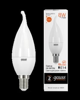 Лампа светодиодная LED Elementary свеча 8Вт E14 520лм 3000К  GAUSS