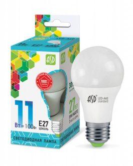 Лампа светодиодная LED-A60-standard 11Вт 4000K /Е27/ 900Лм.ASD