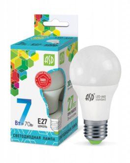 Лампа светодиодная LED-A60-standard 7Вт 3000K /Е27/ 600Лм.ASD