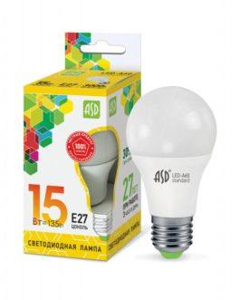 Лампа светодиодная LED-A60-standard 15Вт 3000K /Е27/ 1200Лм ASD