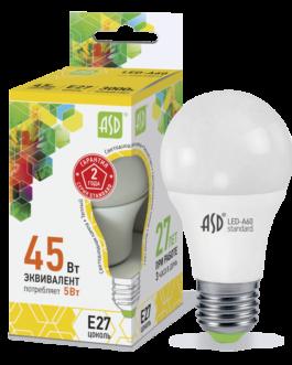 Лампа светодиодная LED-A60-standard 5Вт 3000K /Е27/ 400Лм.ASD