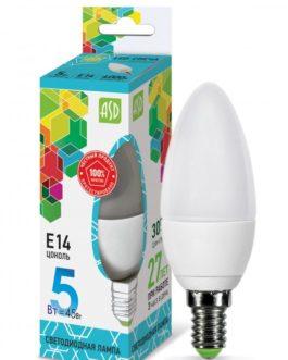 Лампа светодиодная LED-СВЕЧА-PREMIUM 5.0Вт 220В Е14 4000К 450Лм прозрачная ASD