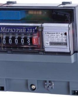 Счетчик Меркурий 201.5 5-60А 1ф (1тариф. ОУ,на рейку)